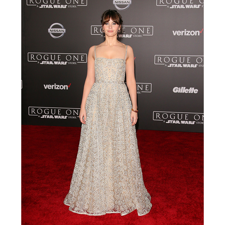 December 10: Felicity Jones dazzled in Dior at the premiere of <i>Rogue One: A Star Wars Story</i> in Hollywood. 