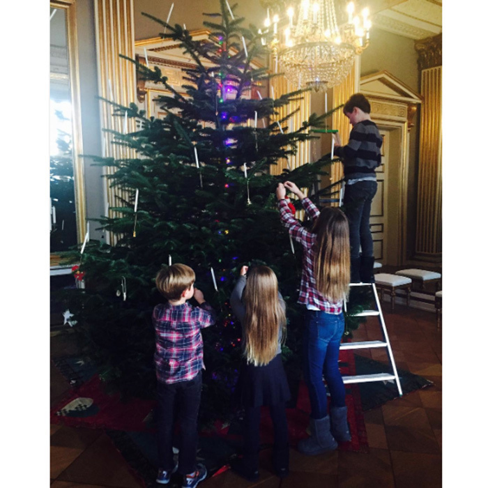 Crown Princess Mary of Denmark's kids Prince Christian, Princess Isabella and five-year-old twins Prince Vincent and Princess Josephine, added a touch of the holidays to their home – Frederik VIII's Palace – by helping to decorate the Christmas tree.