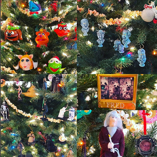 Neil Patrick Harris and David Burtka's tree features Muppets and family photos. 