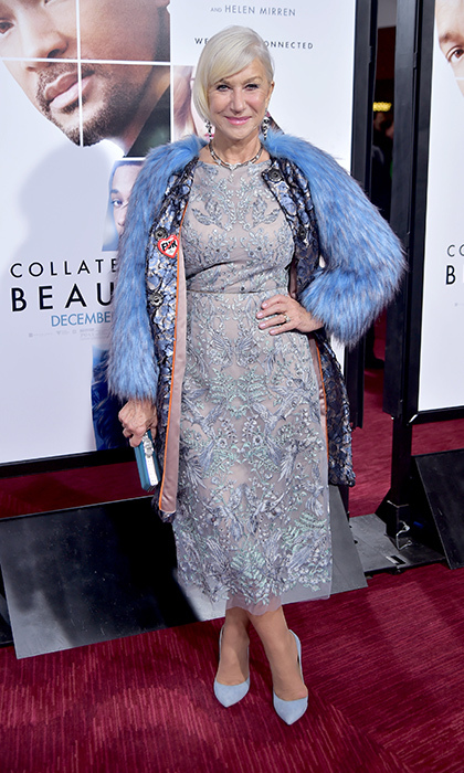 December 12: Helen Mirren rocked faux fur at the premiere of <i>Collateral Beauty</i> in New York. 