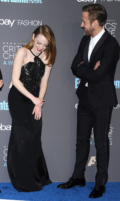 <strong>They don't take Hollywood life too seriously.</strong> When they aren't cracking jokes on set, Ryan and Emma are making each other laugh at special events, like the Critics' Choice Awards on Dec. 11 where <em>La La Land</em> won Best Picture.   
