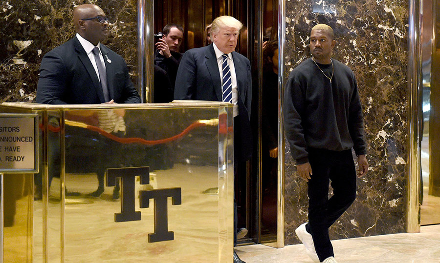 The President-elect escorted Kanye to the lobby of Trump Tower.