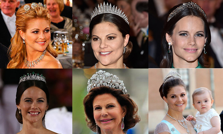 Diamonds are a royal's best friend! The Swedish Royal Family has amassed a spectacular collection of precious headpieces worn by Queen Silvia, Crown Princess Victoria, Princess Madeleine and Princess Sofia. Click through our gallery to get all the details...