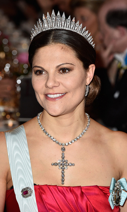 Crown Princess Victoria has been spotted smiling in the 19th century Baden fringe tiara on several formal occasions. The strong design is a definite favourite.