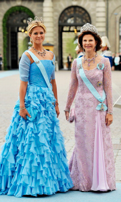 "Double diamonds: the ""Forget-Me-Not,"" worn by Princess Madeleine, and the Bragança, chosen by her mother Queen Silvia.