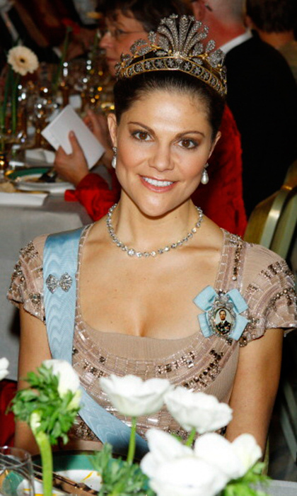 Crown Princess Victoria appears to be a big fan of the imposing cut-steel and gold tiara. The ornate style takes its cue from nature, featuring diamonds arranged in patterns of leaves, acorns, feathers and flowers.