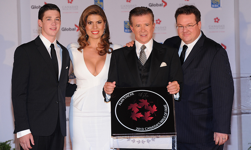 Canada's Walk of Fame celebrated Alan's contributions to entertainment in 2013. The actor attended the ceremony with his wife Tanya and sons Carter and Brennan (L).