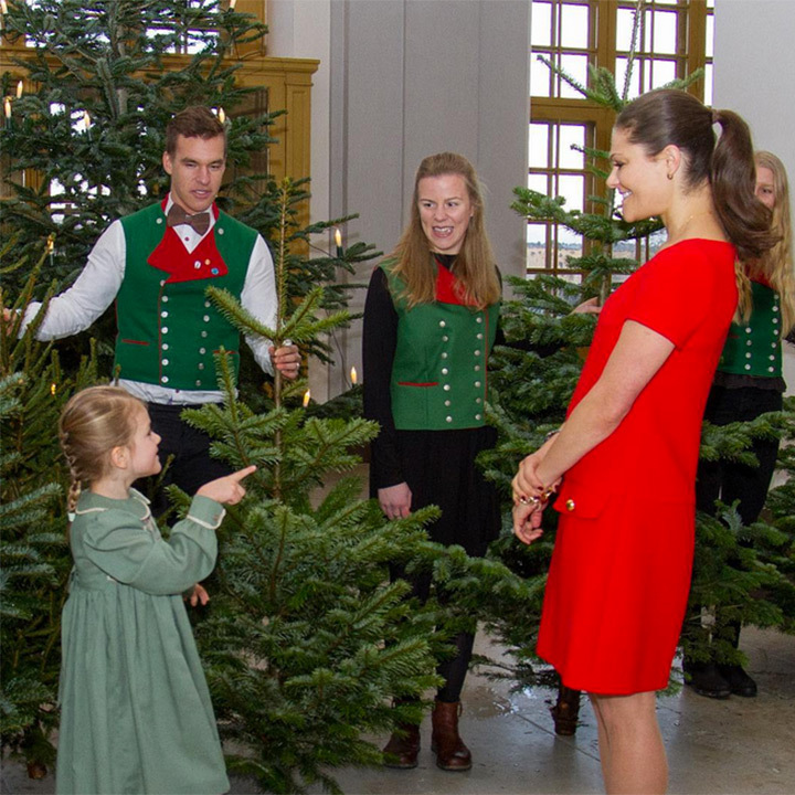 December 2016: The little princess helped her mom, Princess Victoria, pick out the best Christmas tree for the palace. 
