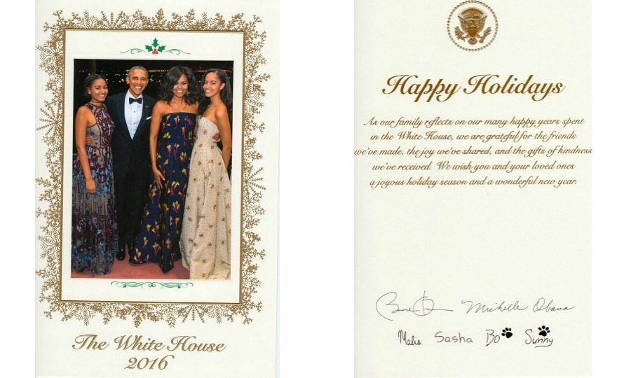 Season's greetings from the Obamas. The first family sent out their final White House holiday card featuring a photo of themselves that was taken back in March at a state dinner honouring Prime Minister Justin Trudeau.