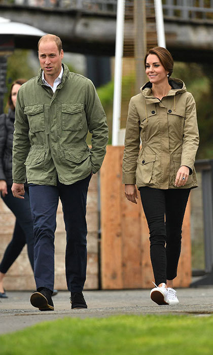 <h2>A safari jacket</h2><p>Little boys and girls need to get some fresh air, even if it's pouring rain. With this neutral-toned rain jacket Kate wore to visit the Pacific Grace in Canada, she can easily supervise little George and Charlotte as they play outside, whatever the weather. Take note from the stylish royal and team with skinny black jeans and white trainers for a laid-back yet chic ensemble.</p><p>Photo: &copy; Getty Images</p>