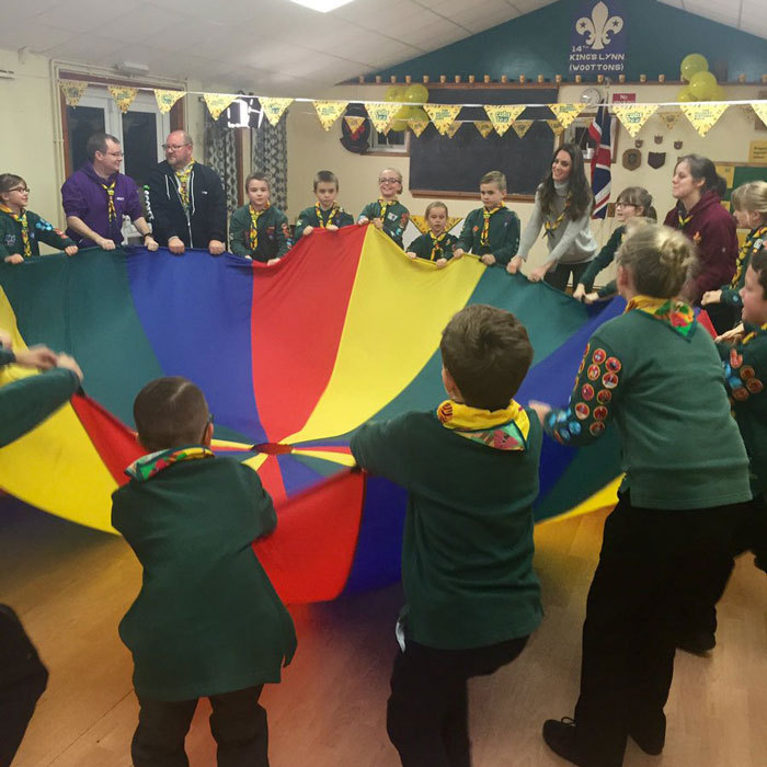 "The parachute is one of the ""most popular games with"" the UK Scout Association and is intended to build ""great teamwork.""