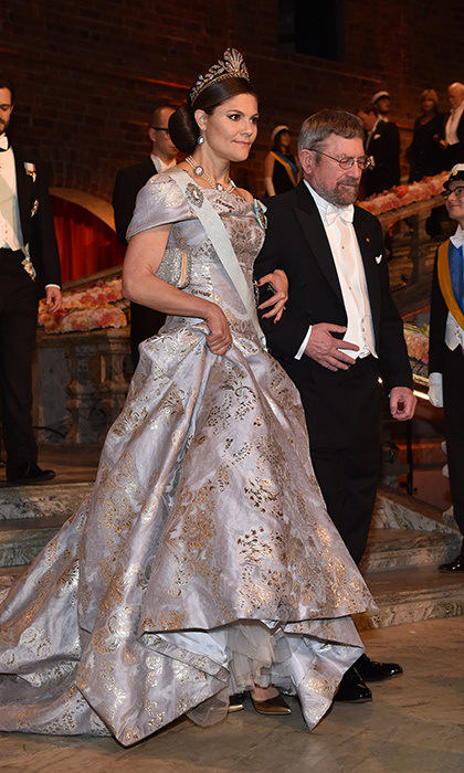 Crown Princess Victoria of Sweden showed off some serious fashion credentials mixing an H&M custom gown and the royal heirloom Cut-Steel and Gold tiara at the Nobel Prize banquet.