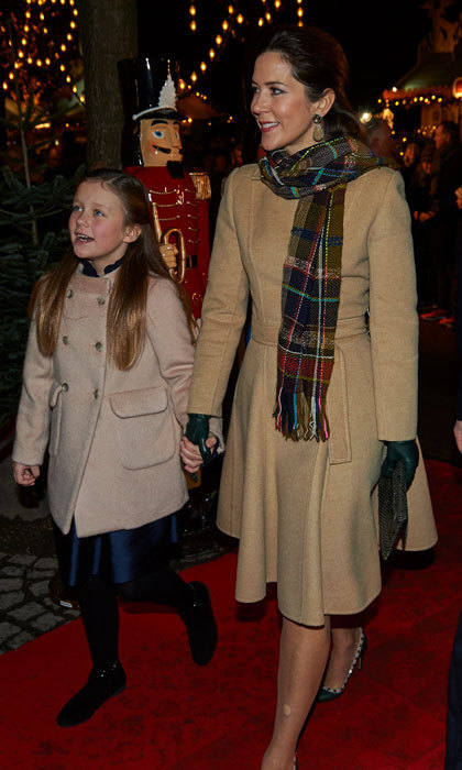 Crown Princess Mary was the picture of sophistication stepping out in a camel coat, which she paired with a checkered scarf, for the opening night of <em>The Nutcracker</em> in Copenhagen.