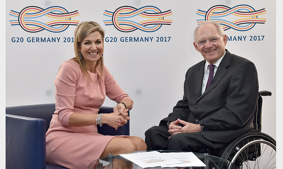 Queen Maxima of the Netherlands and German Federal Minister of Finance Wolfgang Schaeuble met in Berlin on December 14. 