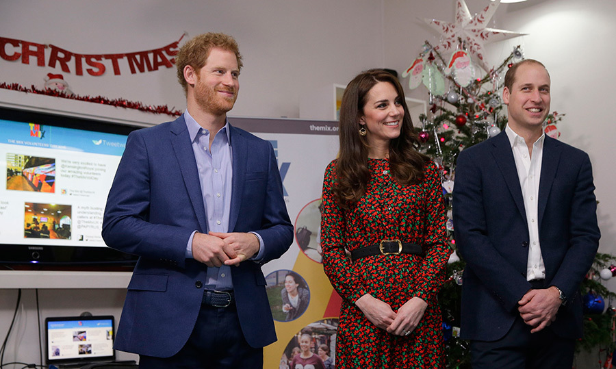 On Dec. 19, 2016, Harry, Kate and William were the guests of honour at a holiday party for their charity Heads Together. 