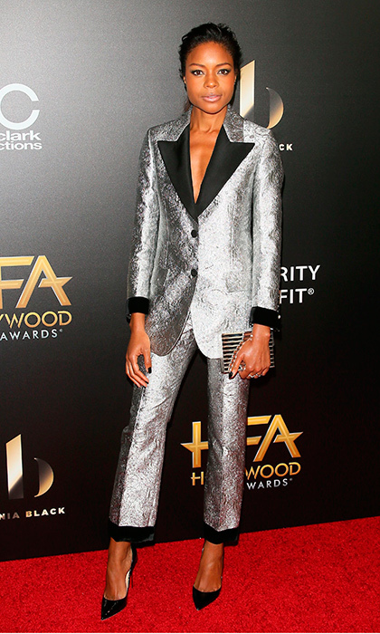 "<a href=""/tags/0/Naomie-Harris"" target=""_blank"">Naomie Harris</a> shined bright on the carpet of the 20th Annual Hollywood Film Awards wearing a silver Gucci suit.<br>Photo: &copy; Getty Images"