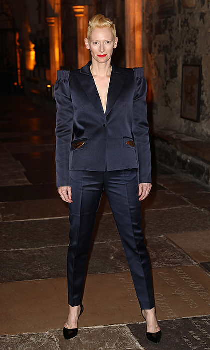 "<a href=""/tags/0/tilda-swinton/"" target=""_blank"">Tilda Swinton</a> looked sharp in a navy suit, which featured statement shoulders, at the red carpet launch event for <em>Doctor Strange</em> in London.<br>Photo: &copy; Getty Images"