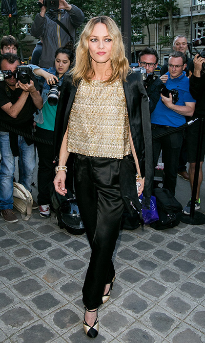 "<a href=""/tags/0/vanessa-paradis/"" target=""_blank"">Vanessa Paradis</a> looked stunning in a glitzy gold top and black satin pantsuit for the 2016 Vogue Fashion Gala.<br>Photo: &copy; Getty Images"