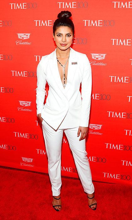 "Actress <a href=""/tags/0/priyanka-chopra/"" target=""_blank"">Priyanka Chopra</a> turned heads at the 2016 Time 100 Gala in New York wearing a chic white pantsuit sans blouse.