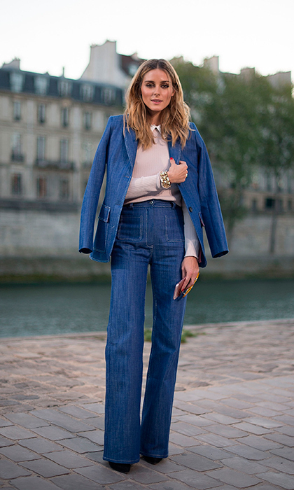 "<a href=""/tags/0/olivia-palermo/"" target=""_blank"">Olivia Palermo</a> looked effortlessly stylish wearing denim pants and a coordinating blazer by Paul and Joe before the label's show during Paris Fashion Week SS17.