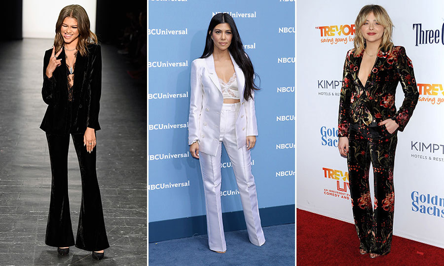When you're planning your looks for holiday parties and New Year's Eve, consider a festive suit in lieu of your usual party dress. Stars like Zendaya, Kourtney Kardashian and Chloë Grace Moretz are proof that a suit can pack just as much sartorial punch! Click through for some holiday suiting inspiration...