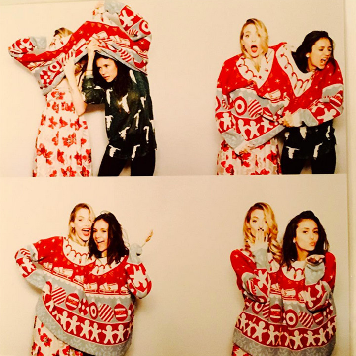 Jaime King and Nina Dobrev made Christmas sweater fun a team sport. 