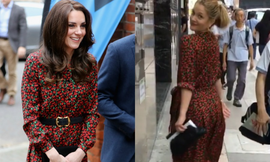 Wearing the same Vanessa Seward dress, the royal and actress twinned for the second time this year.