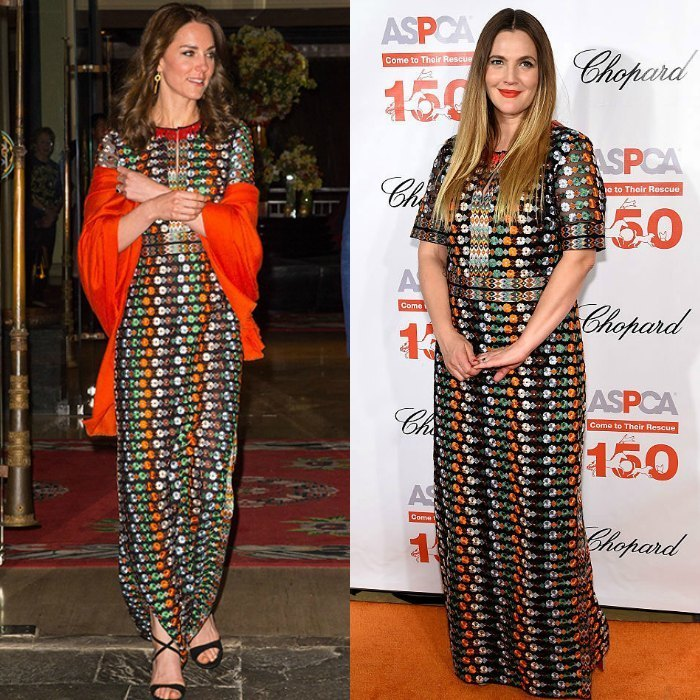 In April, Kate and Drew stepped out on the same night – but in different countries – wearing the same Tory Burch gown.