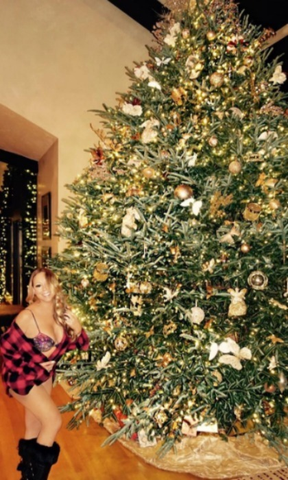 "Mariah Carey showed off her holiday spirit next to her gigantic tree in her lavish $22 million luxury estate in Aspen, thanks to Airbnb. The ""All I Want for Christmas"" singer is spending the holidays with her closest friends and family, including her twins Monroe and Moroccan.