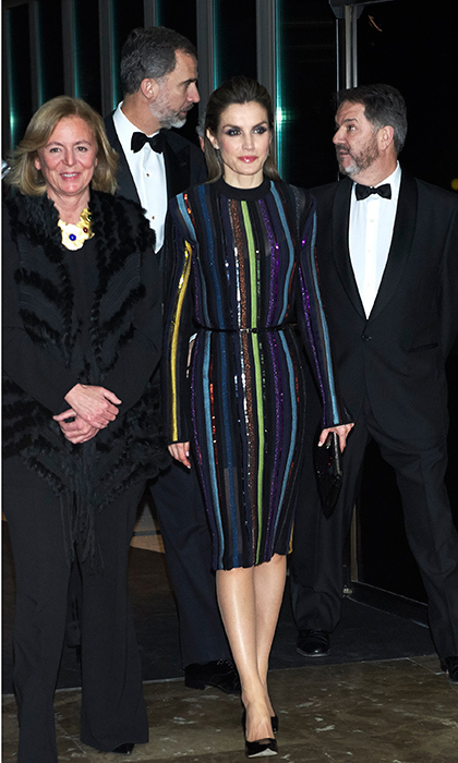 Queen Letizia of Spain attended an awards dinner in Madrid wearing a glittering Nina Ricci striped midi.