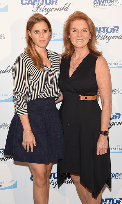 "<a href=""/tags/0/princess-beatrice/"" target=""_blank"">Princess Beatrice of York</a> looked chic in an A-line skirt and striped blouse with her mother Sarah, Duchess of York at the Annual Charity Day at New York City's Cantor Fitzgerald. 