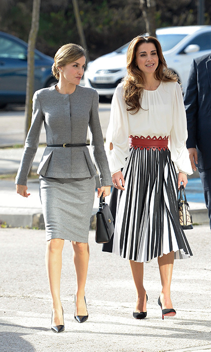 "<a href=""/tags/0/queen-rania/"" target=""_blank"">Queen Rania of Jordan</a> – with a suit-clad Queen Letizia – rocked an eye-catching Proenza Schouler skirt for a visit to the Molecular Biology Center at the Universidad Autonoma in Madrid.