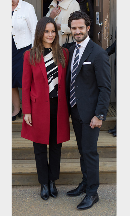 Princess Sofia of Sweden and Prince Carl Philip of Sweden were matching in stripes during a visit to Falun, Sweden.