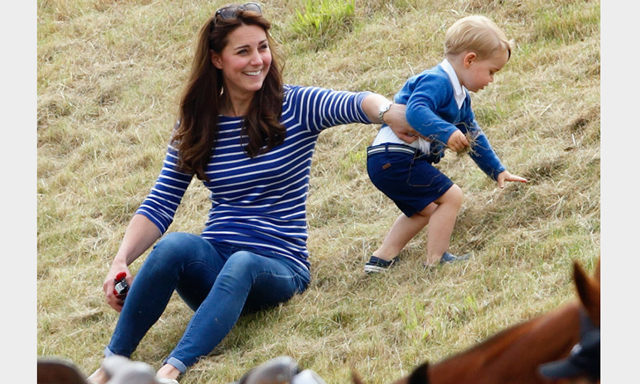 "The <a href=""/tags/0/kate-style/"" target=""_blank"">Duchess of Cambridge</a> wore a laid back ME-EM top as she played with Prince George of Cambridge at the Gigaset Charity Polo Match at England's Beaufort Polo Club.