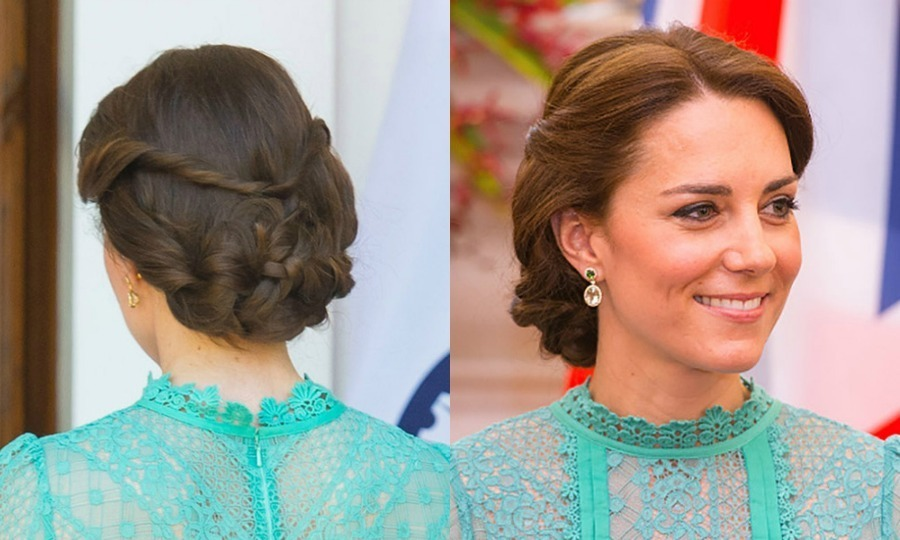 The duchess beat the heat during her royal tour of India and Bhutan by sweeping her hair into a stylish braided chignon with a twisted detail.