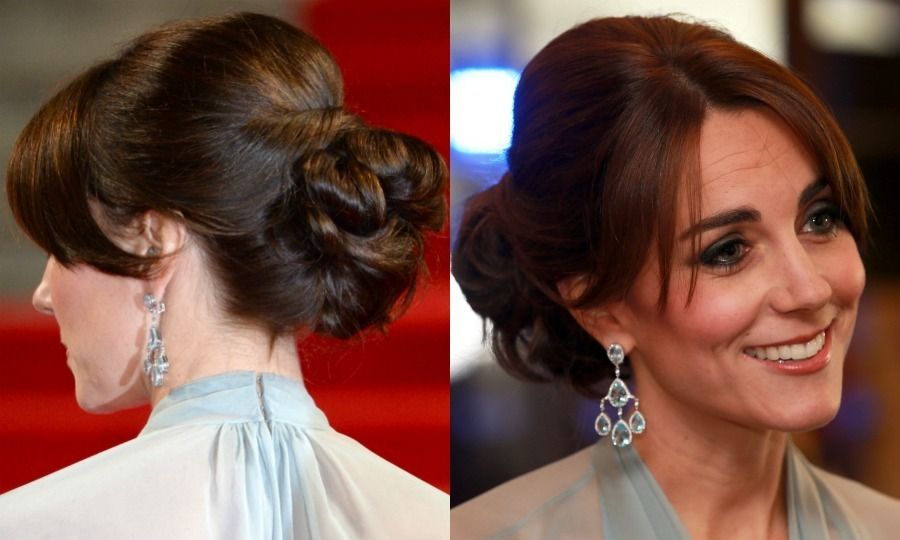 The Duchess of Cambridge exuded Hollywood glamour at the <em>Spectre</em> premiere in London sweeping her glossy locks up in a sophisticated chignon, while parting her bangs in the middle.