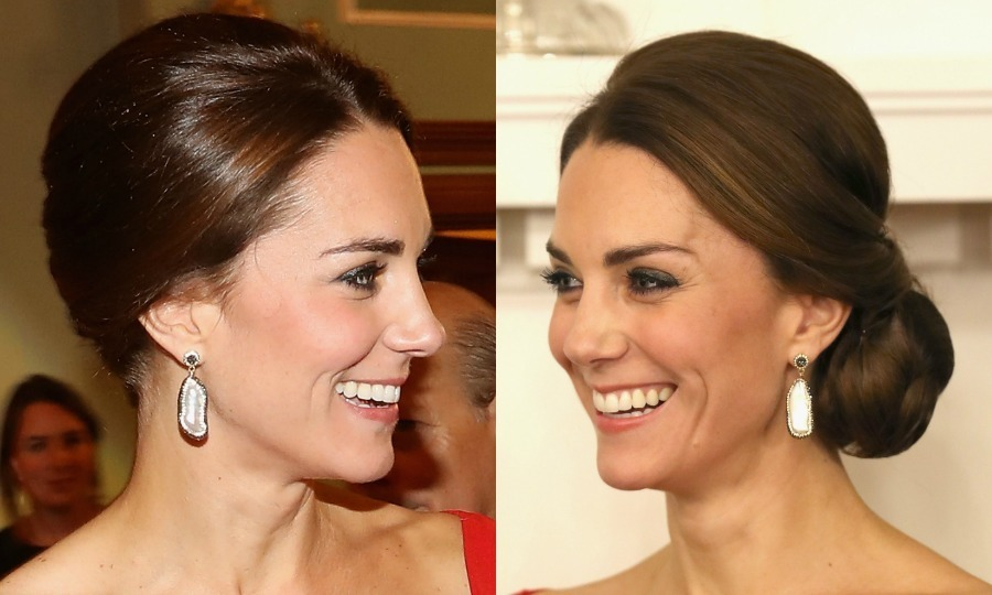 The Duke of Cambridge's wife styled her hair into an elegant side bun for a reception at Government House in Victoria during her 2016 tour of Canada. 