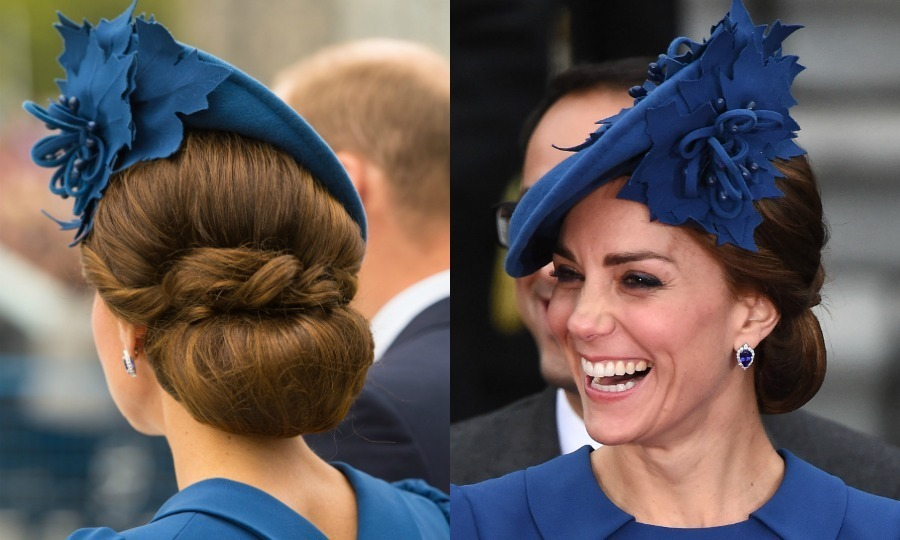 Kate turned a simple bun into a statement at the official welcome ceremony for her and Prince William in Canada. The mum-of-two accessorized the hairstyle with a Sylvia Fletcher for Lock and Company hat.