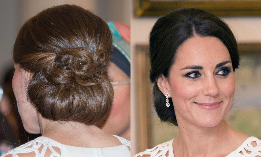 Prince George's mum wore her brunette tresses curled into loose waves and pinned back for a glamorous finish at a reception hosted by the Governor General during her 2014 tour of Australia and New Zealand.
