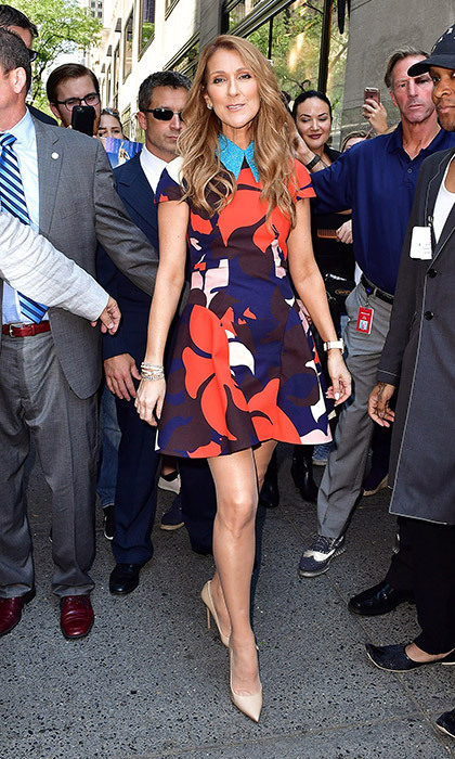 Outside the Today Show before a dazzling performance in July, Celine was a vision in a flared floral Delpozo dress with glittering blue collar. 