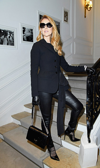 Celine said 'Bonjour' to Paris Couture Fashion Week in head-to-toe black - the walking epitome of Parisian chic from her leather pants and gloves to her oversized sunnies.