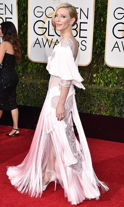Cate Blanchett was a Gatsby-inspired beauty in a pale pink Givenchy gown with a sweeping fringe train at the Golden Globes. 