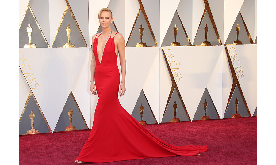 Charlize Theron was a lady in red Dior at the Oscars. 