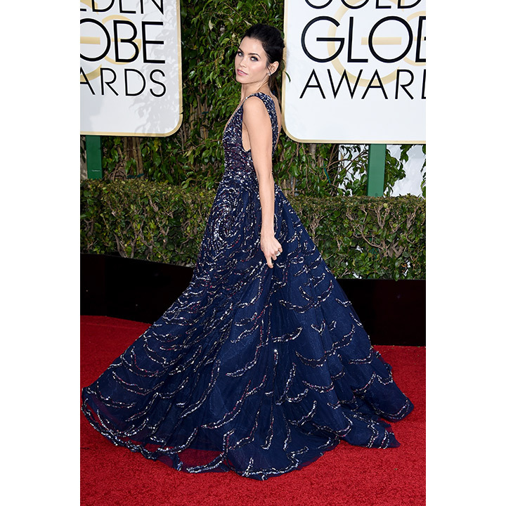 Jenna Dewan Tatum took our breath away in a midnight blue Zuhair Murad gown with a starry, silver-streaked constellation print at the Golden Globes.