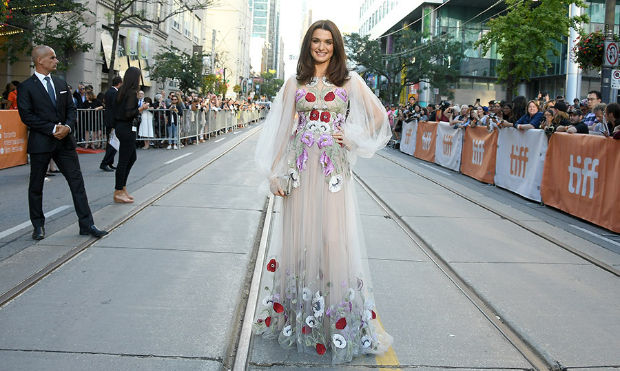 Rachel Weisz stopped traffic in a sweeping Alexander McQueen gown trimmed with floral appliqués at the premiere of <em>Denial</em> during the Toronto International Film Festival.