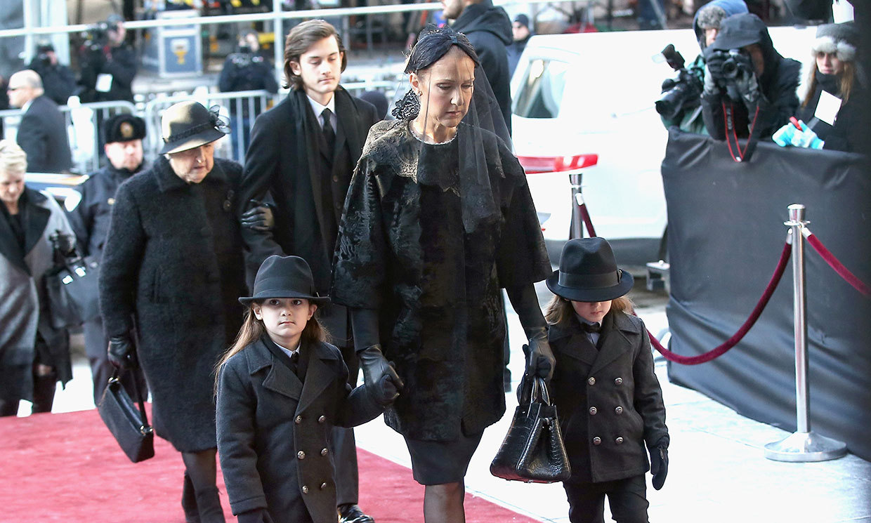 Celine Dion and sons attend René Angélil's funeral in Montreal