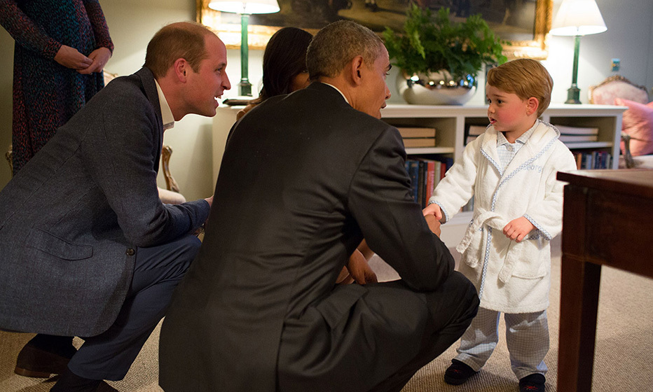 President Barack Obama meets Prince George