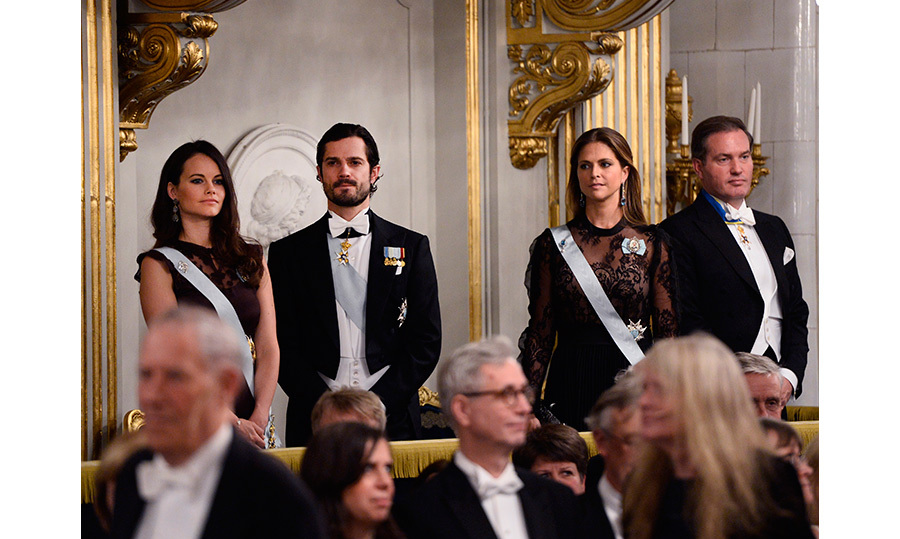 Princess Sofia and Prince Carl Philip were joined by Princess Madeleine and Chris O'Neill at the Swedish Academy's annual meeting at the Stock Exchange. 