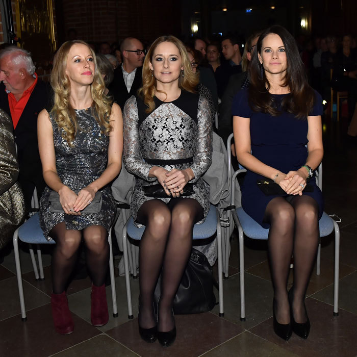"Princess Sofia of Sweden left son Prince Alexander at home to attend the ""Christmas in the Old Town"" concert with her sisters Sara Hellqvist and Lina Hellqvist at Stockholm Cathedral.