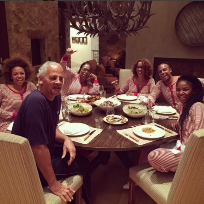 Oprah Winfrey and her crew all got into the holiday spirit with their festive Burt's Bees onesie pyjamas. 